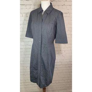 Elie Tahari Bergdorf Goodman Wool Gray Shirt Dress